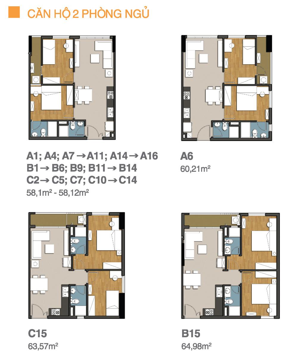 Căn hộ 2 phòng ngủ chung cư 9view
