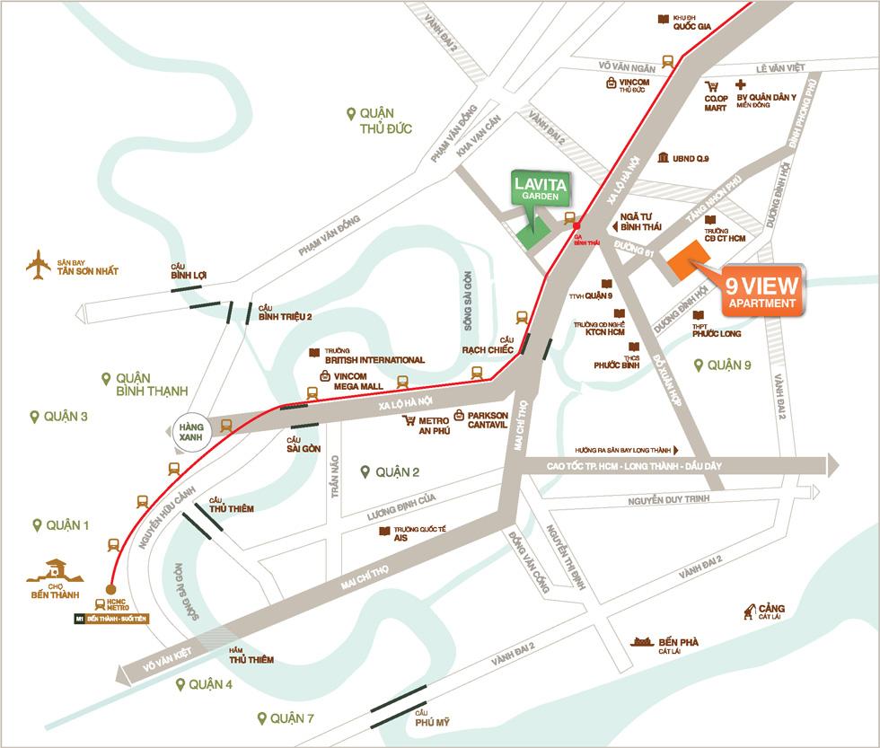 Vị trí dự án chung cư 9view Hưng Thịnh Land